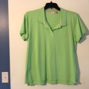 DKNY green polo style top